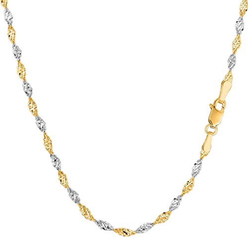 14K Two-Tone Yellow and White Gold 2.00mm Shiny Diamond-Cut Classic Singapore Chain Necklace for Pendants and Charms with Lobster-Claw Clasp (16