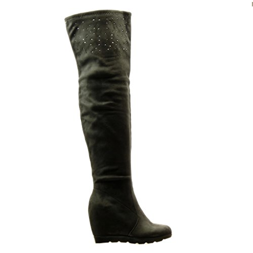 Angkorly - Scarpe da Moda Stivali Alti Stivali - Scarponi flessibile donna strass Tacco zeppa 12 CM - Grigio