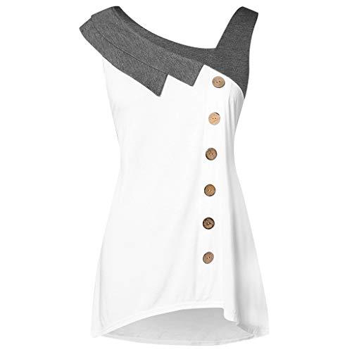 (kaifongfu Lady Blouse, Women Fashion Plus Size Skew Neck Asymmetric Tank Top Sleeveless Button)
