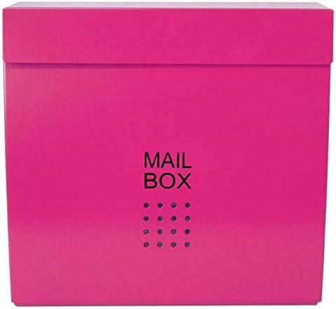 おしゃれな郵便ポスト 人気の北欧デザインメールボックス 大型壁掛けマグネット付きバイカラーピンク色ポストpm175