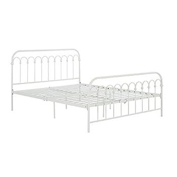 "Novogratz Bright Pop Metal Bed, Adjustable Height for Underbed Storage (6.5"" or 11""), Metal Slats Included, Full, White"