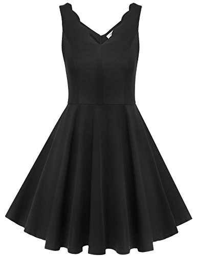 Beyove Women Casual Low-Cut V-Neck Dress Solid Short Mini Flare Tea Dress Black/XXL