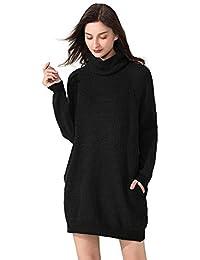 Fengtre Women's Sweater Dress, Loose fit Turtleneck Wool Long Sleeve Pullover Sweater