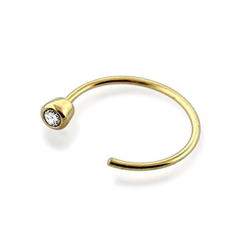 "PiercingPoint 14K Solid Yellow Gold Bezel set Gemstone 20 Gauge 5/16"" ( 8MM ) Open Hoop Nose Ring"