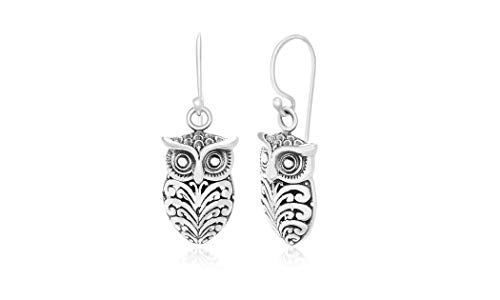 WILLOWBIRD Textured Owl Dangle French Wire Earrings for Women In Oxidized 925 Sterling Silver (Owl)