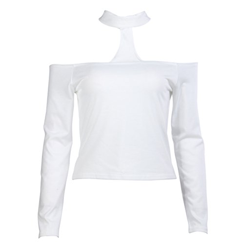 Diamondo Sexy Off The Shoulder Crop Top Tank Long Sleeve Blouse T Shirt (White, L)