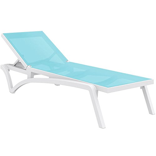 Sling Resort Chaise - Pacific Resort Stackable and Polypropylene Construction Resin Sling Chaise Lounge with Recessed Wheels - Set of 2