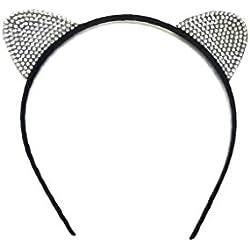 MeeThan Crystal Rhinestone Metal Cat Ear Headband :H10 (RA)