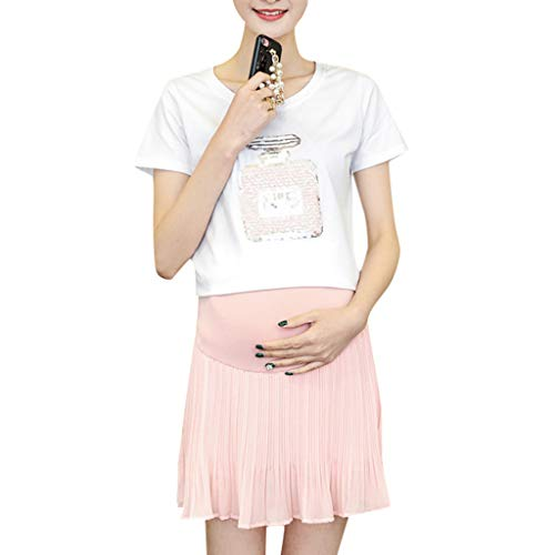 Women Maternity Shorts Skirt Pants Pregnancy Casual Low Waist Pants Chiffon
