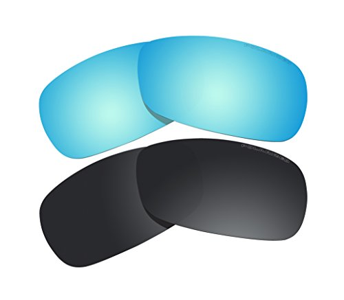 2 Pairs Polarized Lenses Replacement black & blue for Oakley Crosshair 2.0 (OO4044) - Oakley 2.0 Polarized Lenses Crosshair Replacement