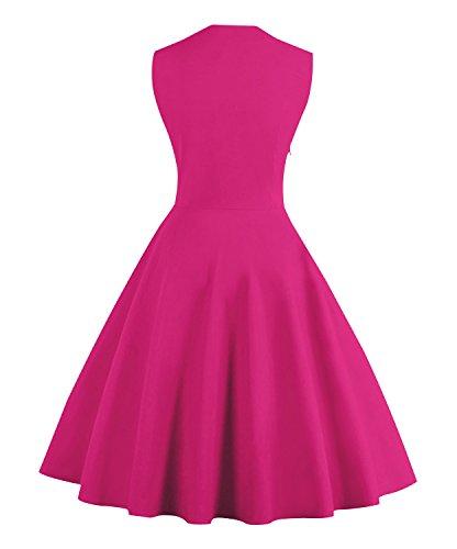 Killreal Women's Elegant Sleeveless Polka Dot Print Rockabilly Vintage Bridesmaid Dress Hot Pink XXXXX-Large