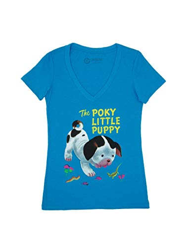 (Out of Print Little Golden Books The Poky Little Puppy Women's V-Neck T-Shirt Large)