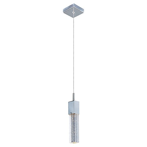 ET2 E22761-89PC Fizz III 1-Light LED Pendant Mini Pendant, Polished Chrome Finish, Etched/Bubble Glass, PCB LED Bulb, 3W Max., Dry Safety Rated, 3000K Color Temp., Standard Triac/Lutron or Leviton Dimmable, Shade Material, 770 Rated Lumens