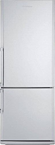 "Blomberg BRFB1452SSN 28"" 13.8 cu.ft. capacity Bottom Freezer Refrigerator With Chrome Coated Wine Rack Bottle Holder Three Safety Glass Shelves Four Door Racks Reversible Door and In Stainless Steel"
