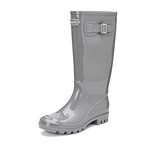 DKSUKO Women's Rain Boots Waterproof Knee High Wellington Boots (10 B(M) US, ()