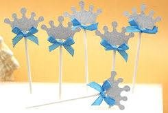 Crown Dessert Cupcake Toppers Silver Turquoise Blue Bow Crown Royal Prince Wedding Baby Shower Birthday Party (Pack of -