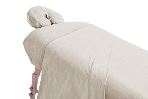 London Linens Extra Thick 100% Cotton Flannel Massage Table Cover Sheet 3 Piece Set (Natural) from LONDON LINENS