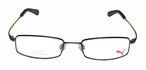 Puma 15366 Explorer II Mens/Womens Designer Full-rim Eyeglasses/Spectacles (52-18-145, Khaki) - Puma Silver Sunglasses