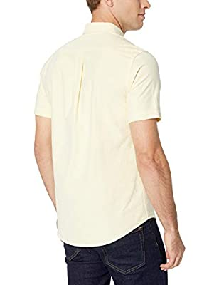 Amazon Essentials Men's Slim-Fit Short-Sleeve Pocket Oxford Shirt, Yellow, Large