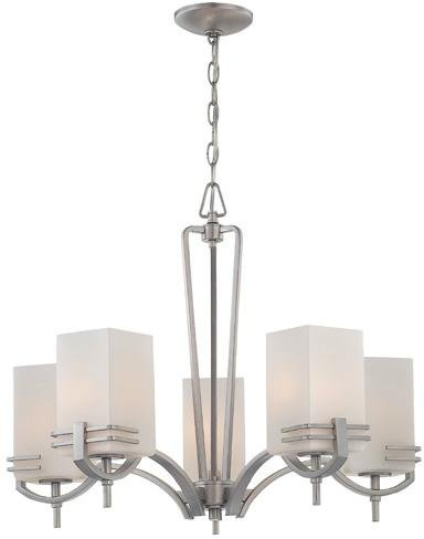 Lite Source LS-18015SS/FRO Pendant with Frost Glass Shades, Steel Finish