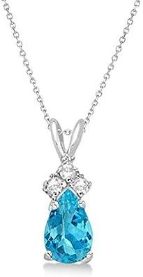 Colgante de topacio azul y diamante solitario de pera Collar de oro blanco de 14 k (0.75ct), colgante de oro 14k