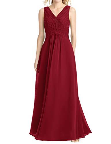 Cdress Long Bridesmaid Dresses Chiffon V-Neck Prom Evening Dress Wedding Party Formal Gowns Maxi US 28W Burgundy