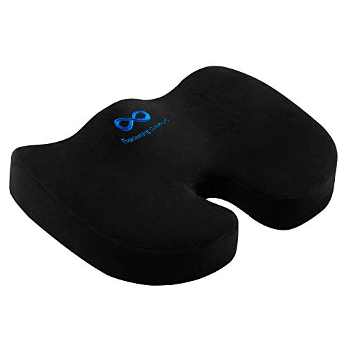 Everlasting Comfort Memory Foam Seat Cushion Designed for Hip and Tailbone Pain - Office Chair Cushions & Car Seat Cushion - Coccyx Cushion - Sciatica & Back Pain Relief (Office Chair 50 Under)