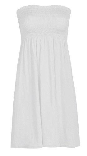 Generic Robe bustier sexy pour femme sans manches sans bretelles Idéal tenue d'été décontractée Blanc Taille M/L 40-42