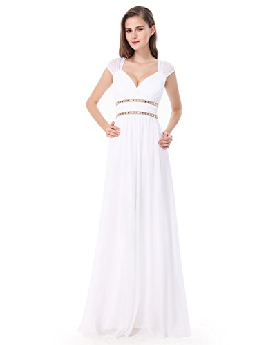 Sera Ever 08697 Cerimonia Bianco Vestito Donna Schienale Vestiti Da Senza Di Pizzo Maxi pretty Sottile Urrqwt