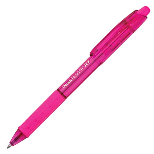 Pentel R.S.V.P. RT Colors New Retractable Ballpoint Pen, Medium Line, Pink Barrel, Pink Ink, Box of 12 (BK93CRP-P) ()