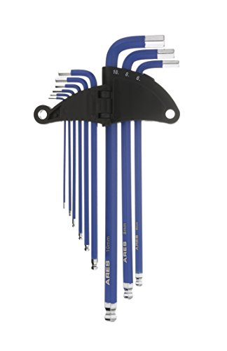ARES 70165 | 9-Piece Metric Long Arm Ball End Hex Key Wrench Set | Chrome Finish with Blue High Visibility Anti-Slip Coating | Convenient Storage Case Included - Hex Socket Stubby Metric