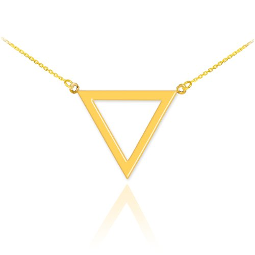 (High Polish 14k Yellow Gold Geometric Pendant Inverted Triangle Necklace, 18
