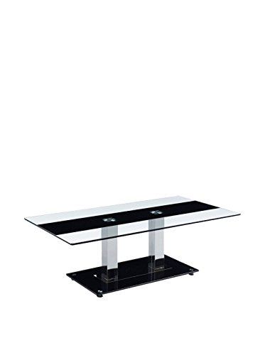 (Global Furniture Clear/Black Stripe Occasional Coffee Table with Silver Legs)
