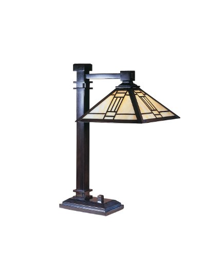 Fine Art Lamps Bronze Table Lamp (Dale Tiffany TT100016 Noir Mission Table Lamp, Mica Bronze and Art Glass Shade)