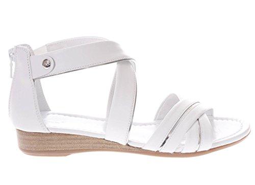 707 Sandalo In P805640d Donna Nero Incrociate Giardini Pelle Bianco Fasce IwtZIq