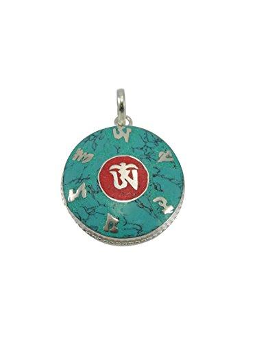Tibetan Handmade Necklace - Handmade Tibetan Buddha of Compassion Om Mani Pendant From Nepal (Turquoise)