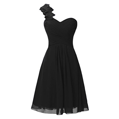 A-line Black Chiffon (Lemai One Shoulder A Line Knee Length Short Corset Chiffon Prom Bridesmaid Dresses Black US 10)