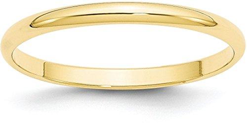 10k Gold 2mm Half Round Plain Classic Wedding Band