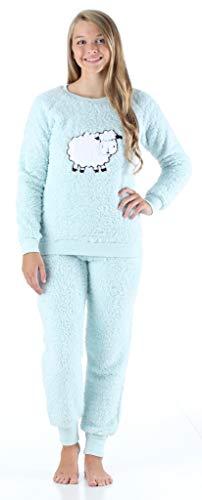 Frankie & Johnny Women's Sleepwear Plush Fleece 2-Piece Pajamas PJ Loungewear Set, Sheep (FJ1146-1072-LRG)