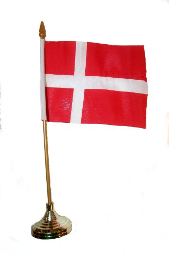Denmark Small 4 X 6 Inch Mini Country Stick Flag Banner with GOLD STAND on a 10 Inch Plastic Pole .. (Denmark Country Flag)