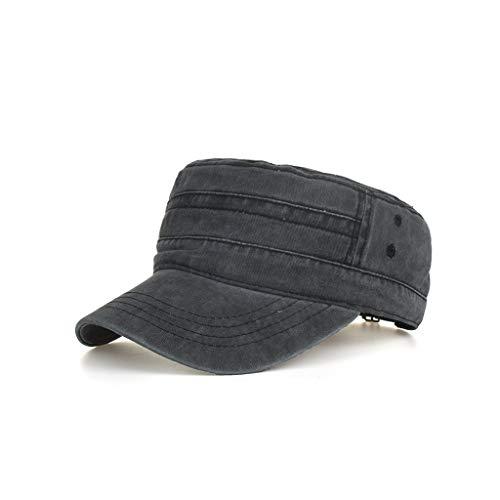 WENSY Washed Cotton Board Military Cap Cadet Cap Unique Design Retro Flat Cap Outdoor Sunshade Casual Hat]()
