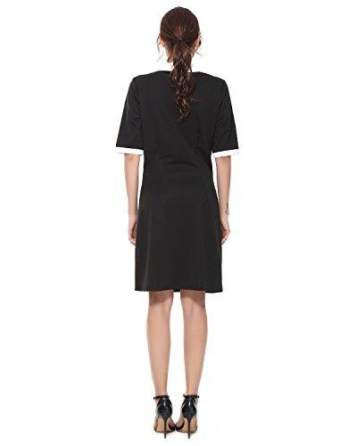 7dcef061f6bd ... Kenancy Damen Partykleid Kurzarm Weiß Kragen Abendkleid Kontrast Casual  Business Kleid Schwarz mit weißen Perlen DyDwi6p