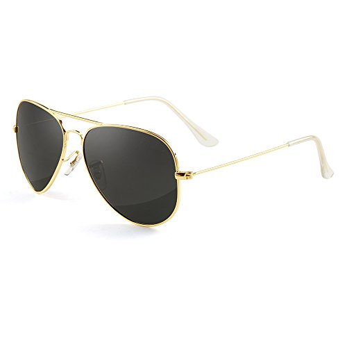 GREY JACK Polarized Classic Aviator Sunglasses Lightweight Style for Men Women Gold Frame Black Lens Medium