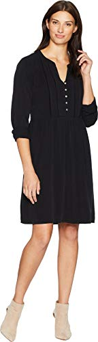 Mod-O-Doc Women's Sandwashed Twill Mandarin Collar Tuxedo Pleat Dress Black Large (Black Mandarin Collar Tuxedo)