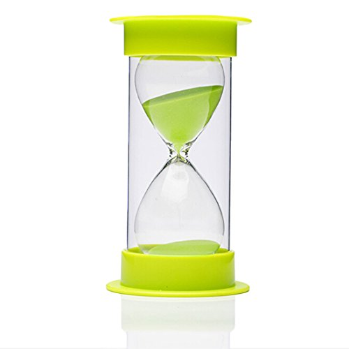 Sand Timer, AblueA 30 Minutes Plastic Sand Clock Hourglass for Outdoor Home Kitchen School Office Desk End Table (Green Caps and Green Sand)