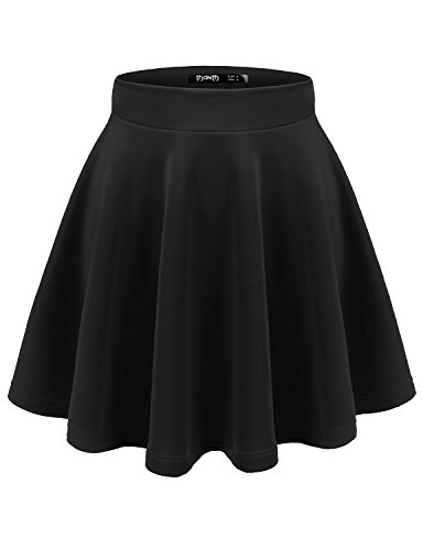 TWINTH Womens Versatile Stretchy Pleated Flare Skater Skirt Black S