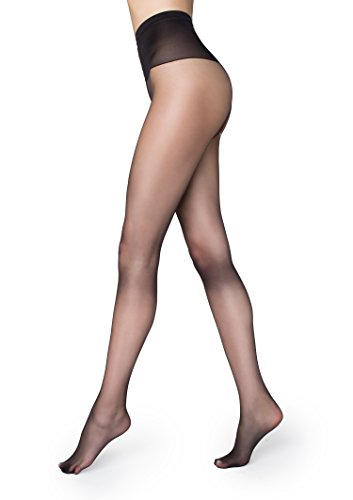 Marilyn Silky Soft Exclusive Luxe European Pantyhose 15 Denier Comfort Top (Black, S/M)