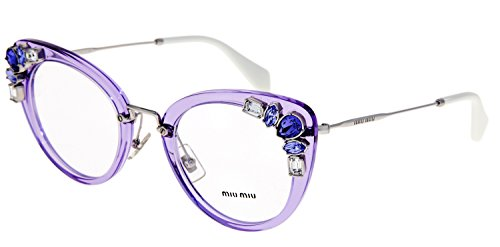 Prada Womens Embellished - MIU MIU RUNWAY JEWEL 05P Lilac Silver Cat Eye Glasses RX Optical Frame MU05PV