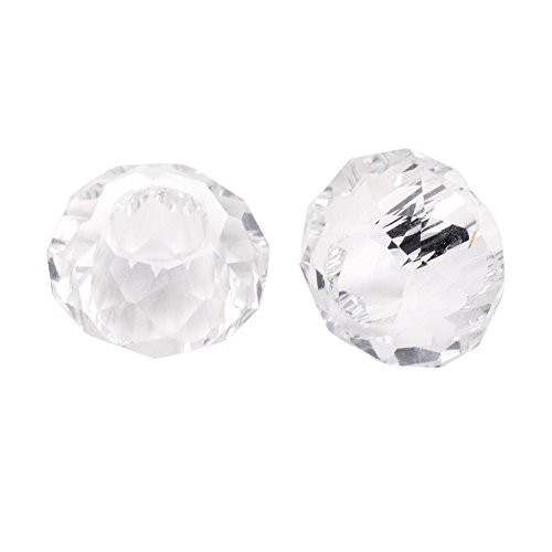Pandahall 100pcs Glass European Beads Large Hole Beads Round Faceted Rondelle Slide Charms No Metal Core for Bracelet Jewelry Makings Clear 14mm in Diameter ()