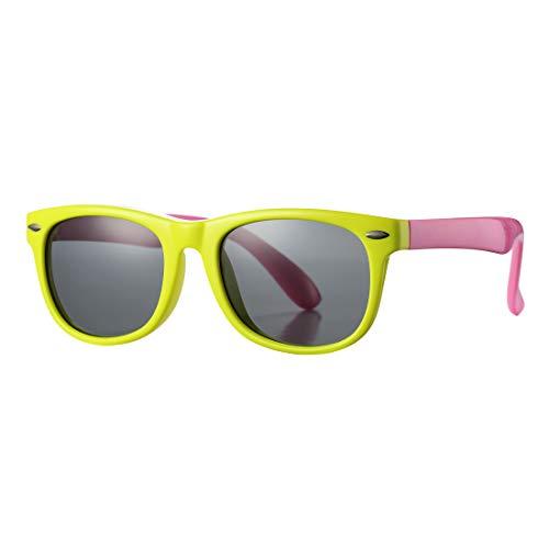 Yellow Frame Grey Lenses - Kids Polarized Sunglasses TPEE Rubber Flexible Shades for Girls Boys Age 3-10 (Yellow Frame/Grey Lens)